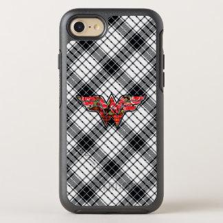 赤いバラおよび格子縞のワンダーウーマンのロゴ オッターボックスシンメトリーiPhone 8/7 ケース