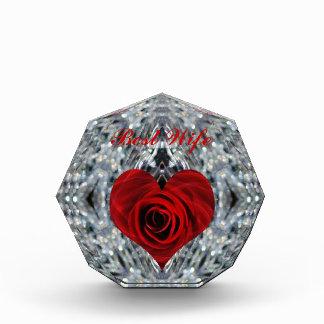 赤いバラおよび水晶のベストの妻 表彰盾