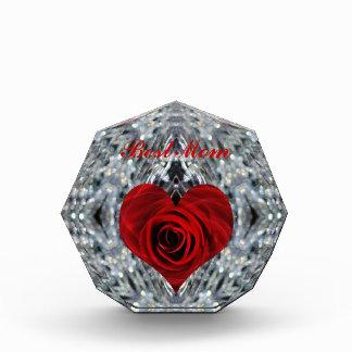 赤いバラおよび水晶 表彰盾