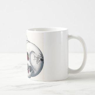赤いバラおよびSpiderwebの微笑のスカル コーヒーマグカップ
