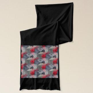 赤いバラとの夢みるようなアフリカ灰色 スカーフ