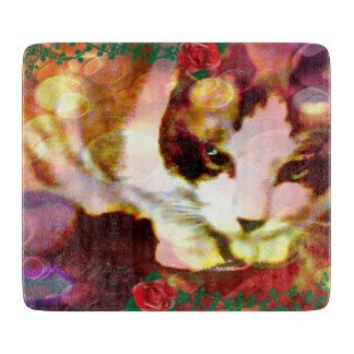 赤いバラのかんじきの子猫 カッティングボード