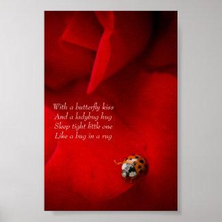 赤いバラのてんとう虫の抱擁子供のポスターのてんとう虫 ポスター