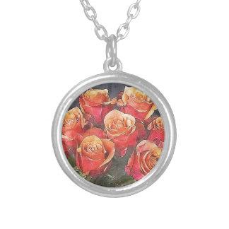 赤いバラのイラストレーション シルバープレートネックレス