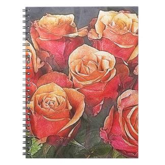 赤いバラのイラストレーション ノートブック