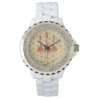 赤いバラのキリンの腕時計 腕時計