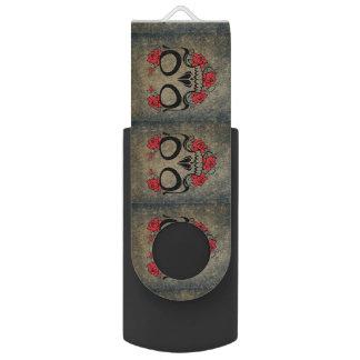赤いバラのスカル USBフラッシュドライブ