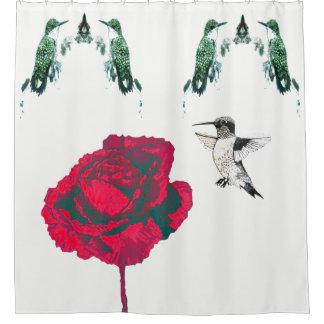 赤いバラのハチドリ シャワーカーテン
