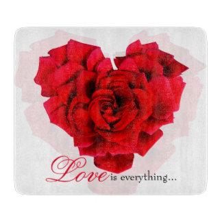 赤いバラのハート形愛ガラスまな板 カッティングボード