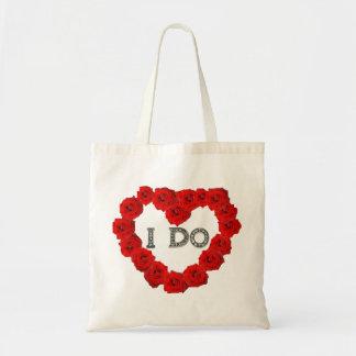 赤いバラのハート私はきらきら光るな結婚式のトートをします トートバッグ