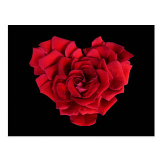 赤いバラのハート ポストカード