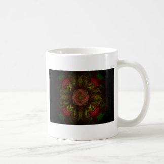 赤いバラのフラクタルの芸術のデザイン コーヒーマグカップ