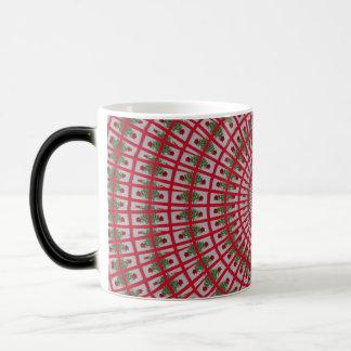 赤いバラのフラクタルパターンデザイン マジックマグカップ