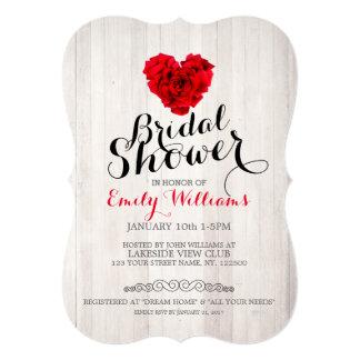 赤いバラのブライダルシャワーの招待 カード