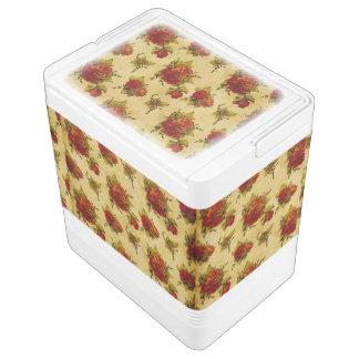 赤いバラのプリント IGLOOクーラーボックス