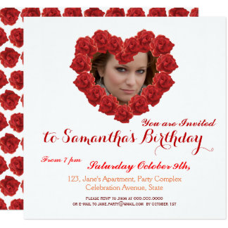 赤いバラの写真の招待状 カード