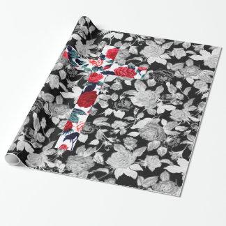 赤いバラの十字及び白黒花パターン ラッピングペーパー