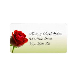 赤いバラの宛名ラベル ラベル