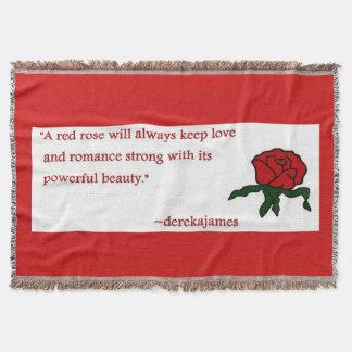 赤いバラの引用文のブランケット スローブランケット
