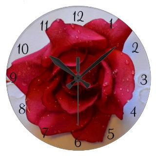 赤いバラの時計 ラージ壁時計