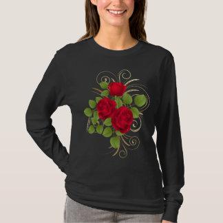 赤いバラの暗い長袖のTシャツ Tシャツ