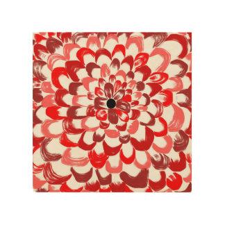 赤いバラの木製のプリント ウッドウォールアート
