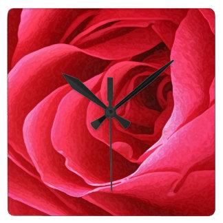 赤いバラの柱時計 スクエア壁時計