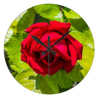 赤いバラの柱時計 ラージ壁時計