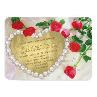 赤いバラの真珠のハートQuinceañera 11.4 X 15.9 インビテーションカード
