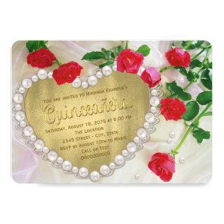 赤いバラの真珠のハートQuinceañera 12.7 X 17.8 インビテーションカード