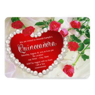 赤いバラの真珠Quinceañera カード