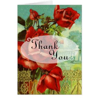 赤いバラの結婚式のサンキューカード カード