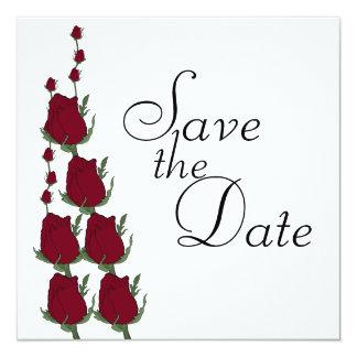 赤いバラの結婚式のセーブ・ザ・デート案内 カード