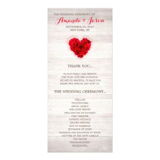 赤いバラの結婚式のプログラム・カードhhn01 ラックカード