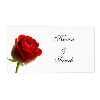 赤いバラの結婚式のラベル ラベル