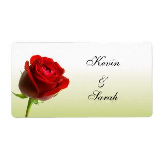赤いバラの結婚式のラベル 発送ラベル
