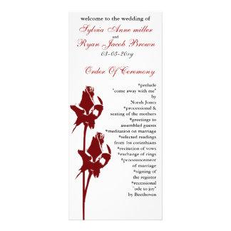 赤いバラの結婚式プログラム ラックカード