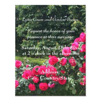 赤いバラの結婚式招待状のスワッグ カード