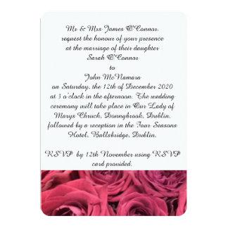 赤いバラの結婚式招待状 カード