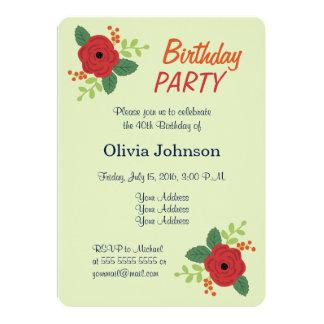 赤いバラの花の緑の誕生日のパーティの招待状 カード