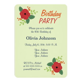 赤いバラの花の緑の誕生日のパーティの招待状 12.7 X 17.8 インビテーションカード