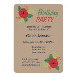 赤いバラの花の自然な誕生日のパーティの招待状 カード