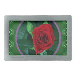 赤いバラの花の花の官能的なイメージ100のギフト 長方形ベルトバックル