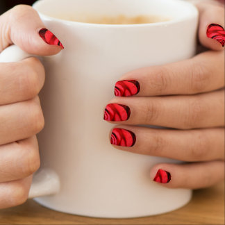 赤いバラの花のMinxのネイルカバー ネイルアート
