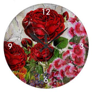 赤いバラの花園 ラージ壁時計