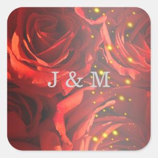 赤いバラの花束のステッカー スクエアシール