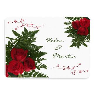 赤いバラの花束の招待状 カード