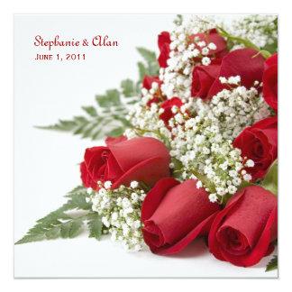 赤いバラの花束の結婚式招待状 カード