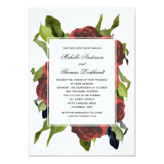 赤いバラの花束の花の結婚式 カード