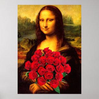 赤いバラの花束を持つモナ・リザ ポスター
